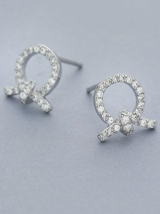One Silver Women Trendy Bowknot Shaped Earrings 2