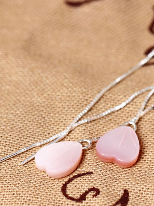 SILVER MI S925 Silver Pink Heart Shell Line threader earring 1