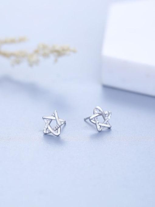 One Silver Women Elegant Star Shaped Zircon stud Earring