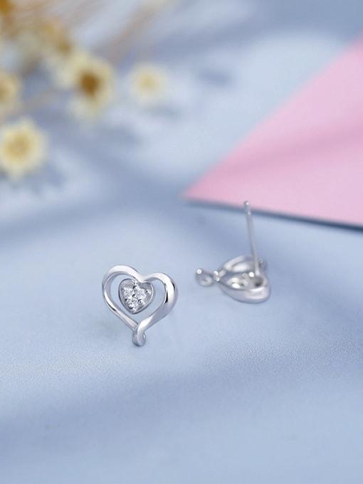 One Silver Elegant Heart Shaped Zircon Earrings 1