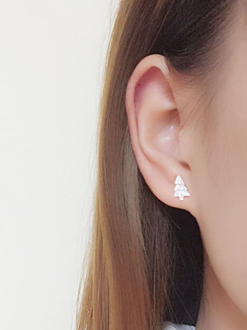 Peng Yuan Little Christmas Tree Silver stud Earring 1