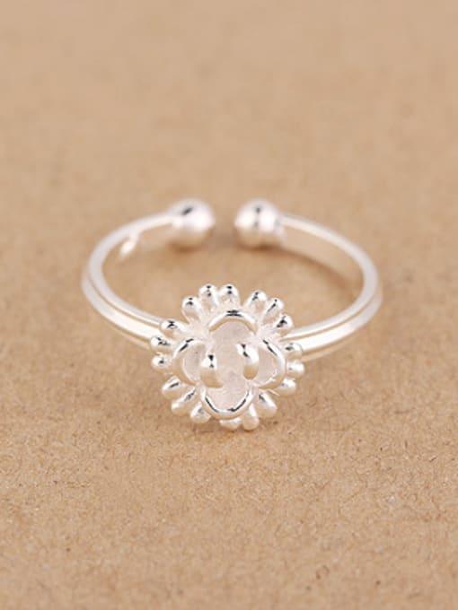 Peng Yuan Fashion Sunflower Silver Opening Ring 0