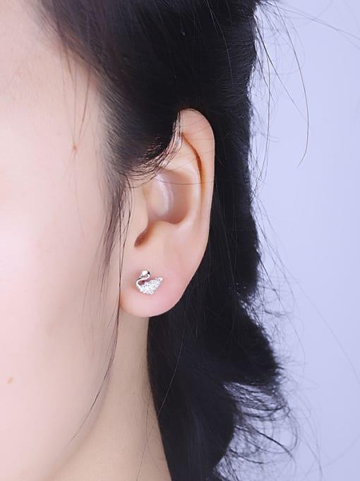 One Silver 925 Silver Swan Shaped Zircon stud Earring 1
