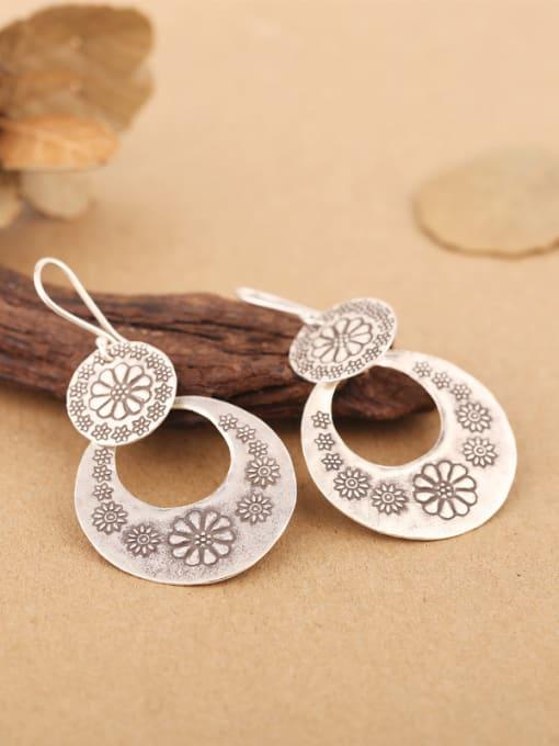 Peng Yuan Ethnic Handmade Silver Flowery hook earring 2