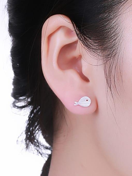 One Silver Women Lovely Fish Shaped Earrings 1