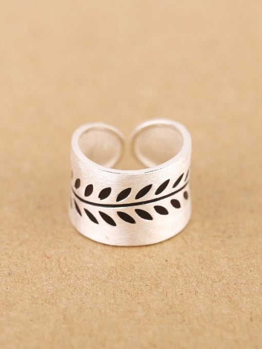 Peng Yuan Personalized Leaves Silver Opening Ring 0