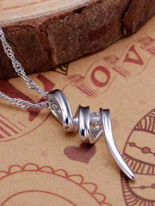 One Silver 925 Silver Wave Shaped Pendant 2