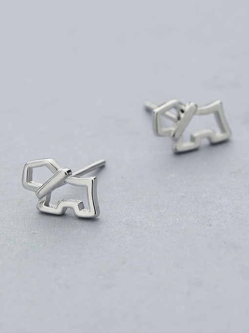 One Silver Lovely Dog Shaped stud Earring