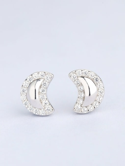 One Silver Women Moon Shaped Zircon Earrings 0