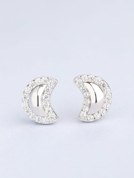 One Silver Women Moon Shaped Zircon Earrings
