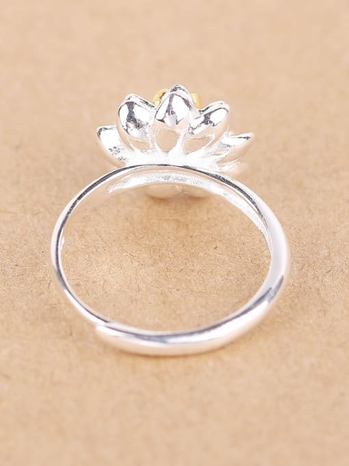 Peng Yuan Ethnic Lotus Flower Silver Ring 2