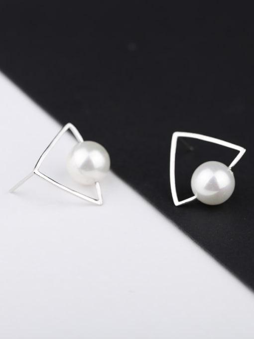 Peng Yuan Triangle Freshwater Pearl Stud Earrings 2