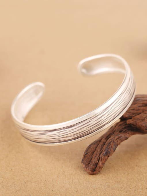Peng Yuan Retro Sterling Silver Handmade Opening Bangle 3