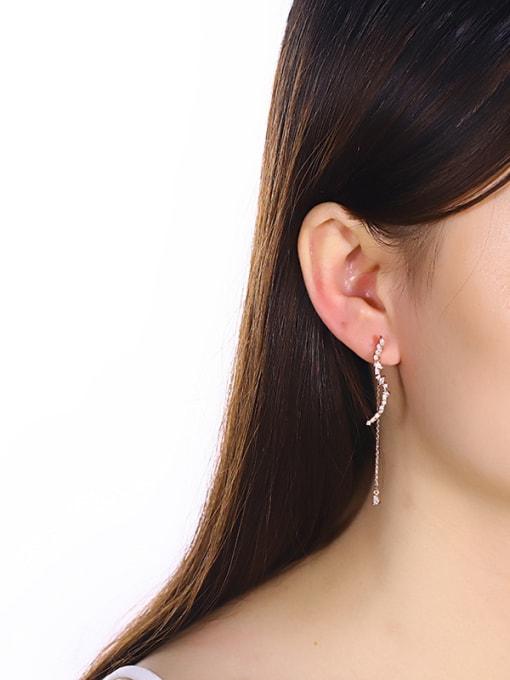 One Silver Rose Gold Plated Flower Zircon threader earring 1
