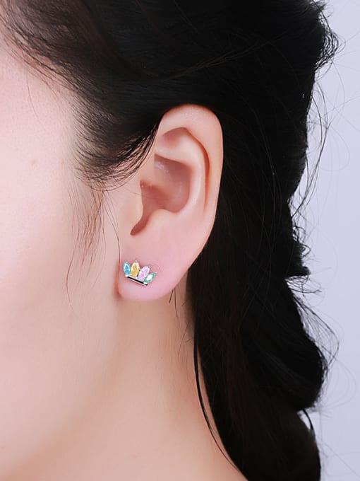 One Silver Women Colorful Zircon stud Earring 1