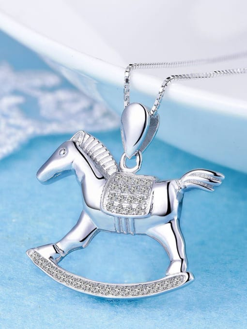 One Silver 925 Silver Horse Shaped Pendant 0
