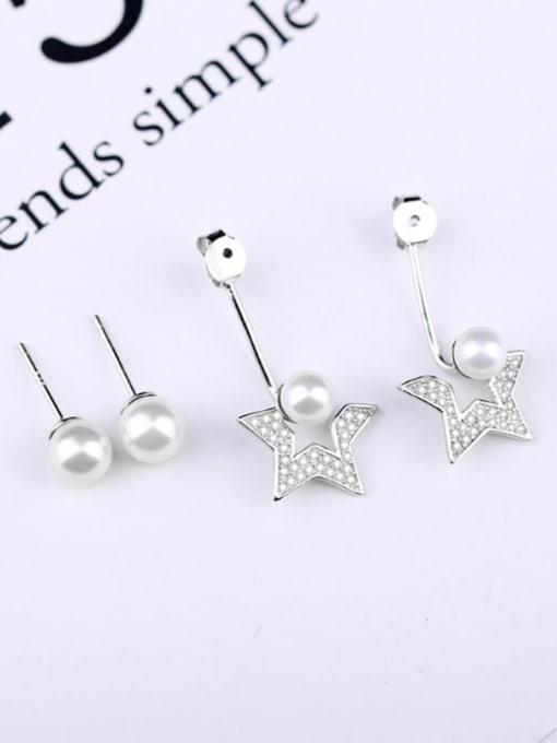 Peng Yuan Freshwater Pearl Star Zircon Stud Earrings 1