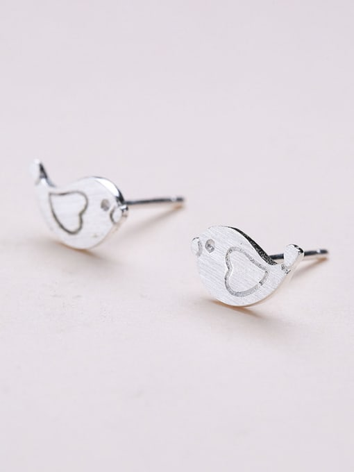 One Silver Women Cute Bird Shaped Earrings 3