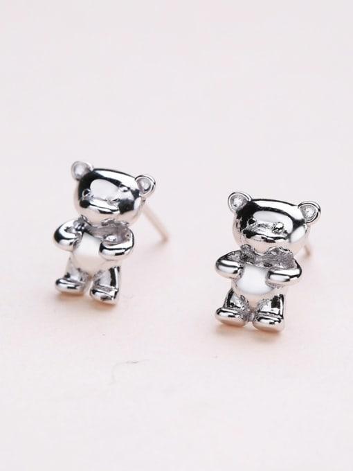 One Silver Cute Bear Shaped Stud cuff earring