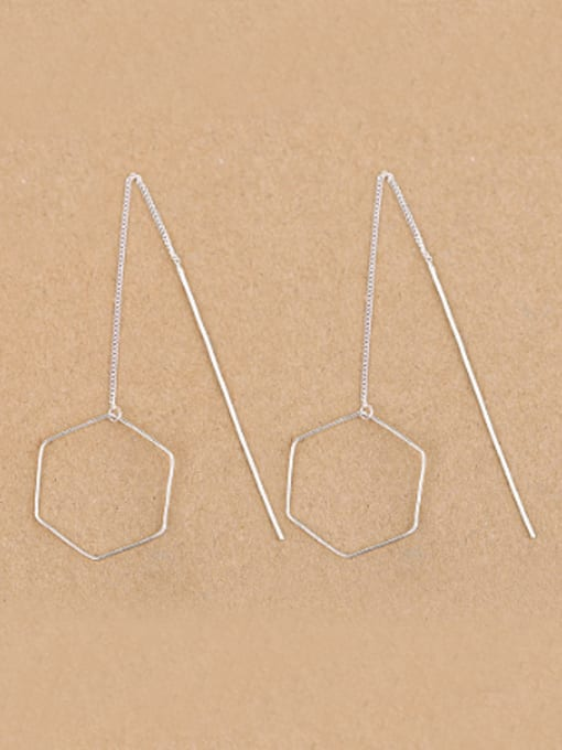 Peng Yuan Simple Hexagon-shaped Silver Line threader earring