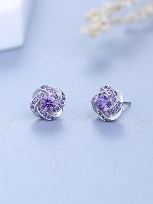 One Silver Women Trendy Purple Zircon stud Earring 0