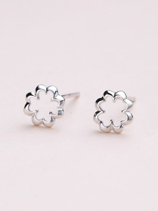 One Silver 925 Silver Exquisite Flower Shaped stud Earring 0