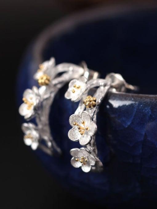 SILVER MI Flower Silver Fashion Women stud Earring 1