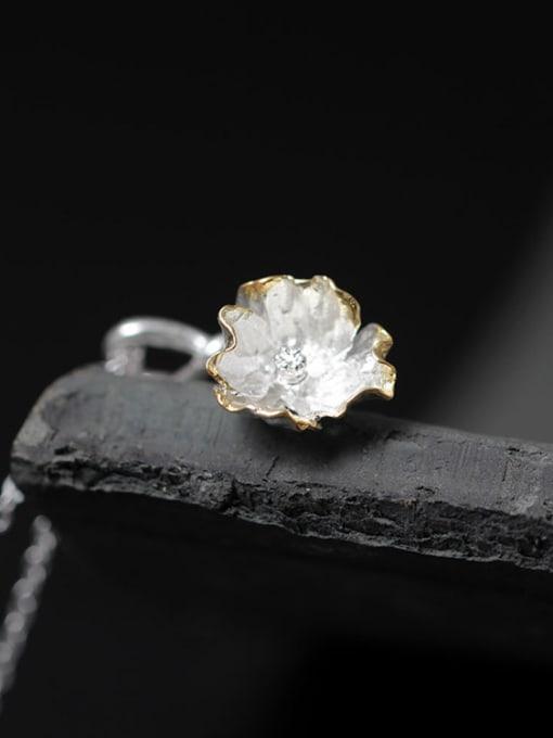 SILVER MI Beautiful Flower Silver Women Necklace