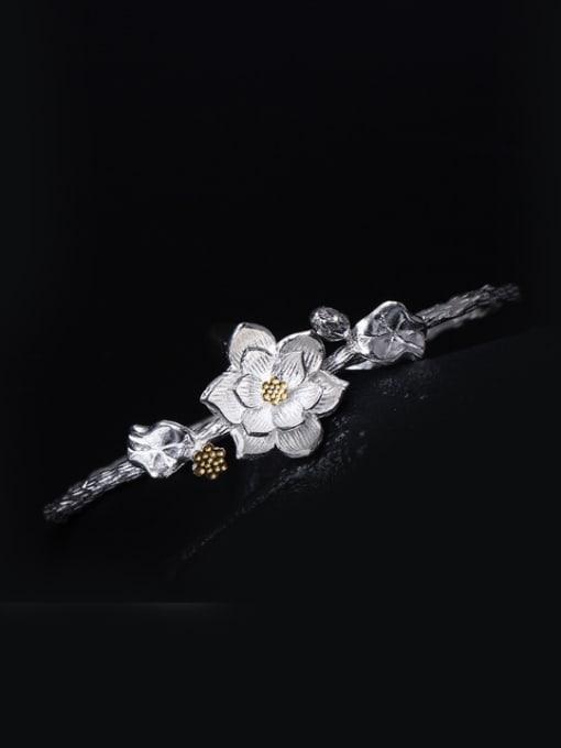 SILVER MI Retro Lotus Leaf Silver Bangle