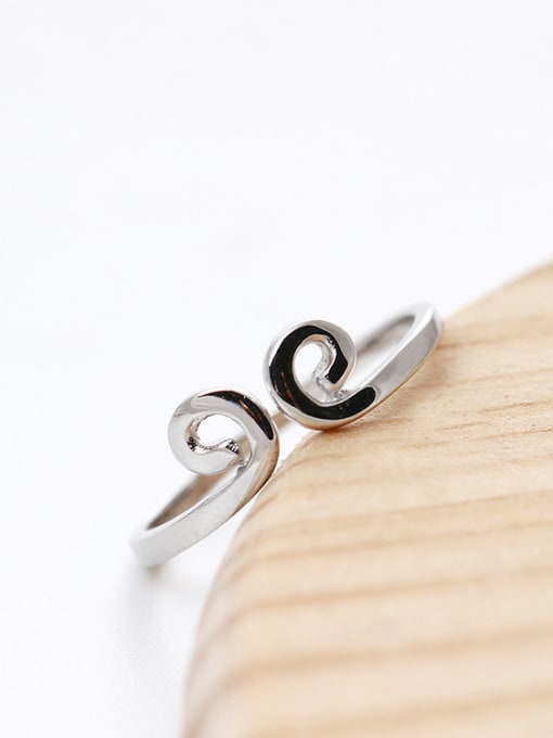 SILVER MI S925 Silver Simple Style Opening Ring 1