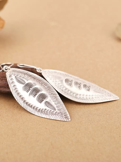 Peng Yuan Ethnic Leaf-shaped Silver Handmade hook earring 3