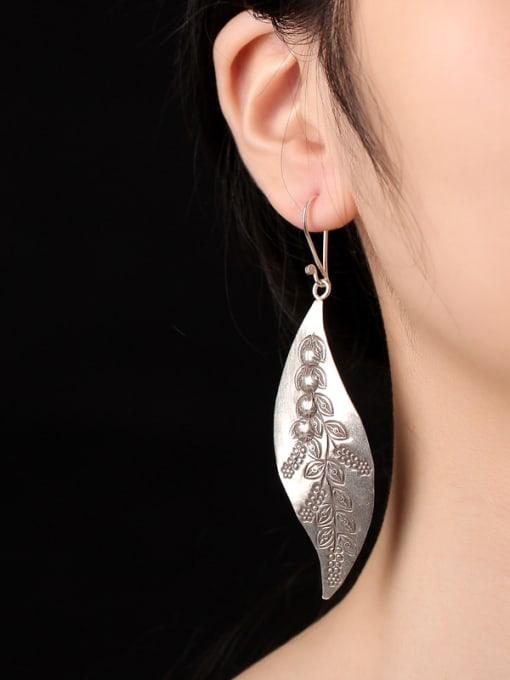 Peng Yuan Ethnic Leaf Handmade Silver hook earring 1