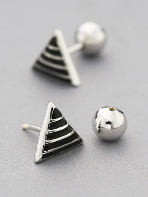 One Silver Fashion Triangle Shaped Stud Earrings 2