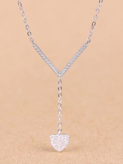 Peng Yuan Simple Heart-shaped Zircon Necklace