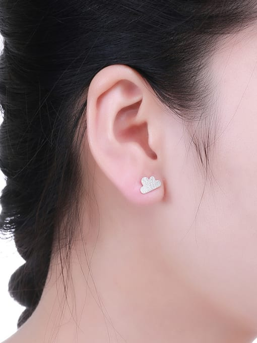 One Silver Women Cloud Shaped Stud Earrings 1