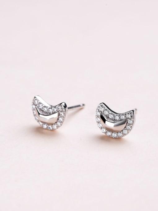 One Silver Women Moon Shaped Zircon Earrings 2