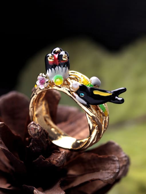 KM Lovely Swallow Lady Alloy Statement Ring 1