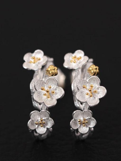 SILVER MI Flower Silver Fashion Women stud Earring 0