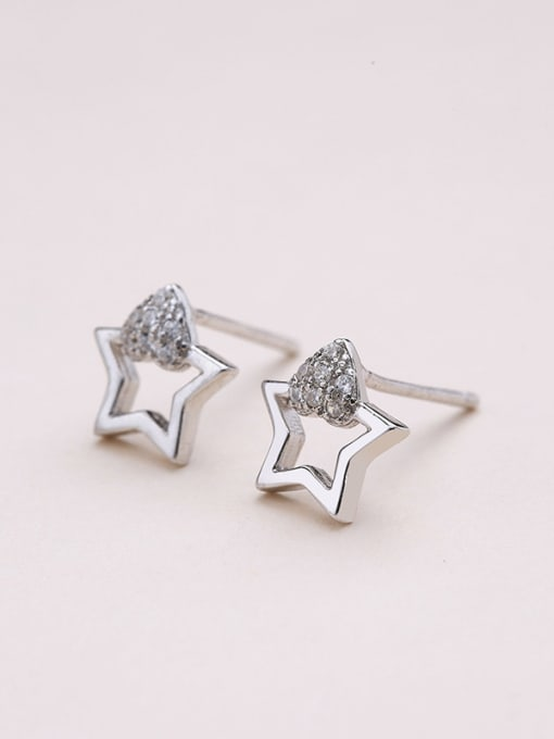 One Silver 925 Silver Charming Star Zircon stud Earring 3