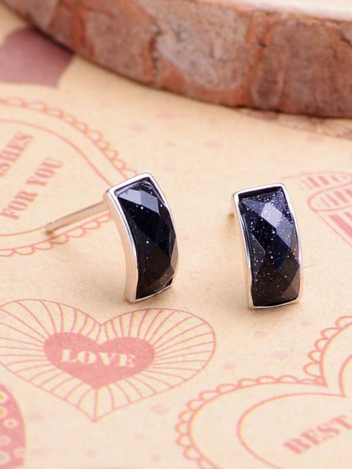 One Silver Geometric Shaped Black Zircon stud Earring 0