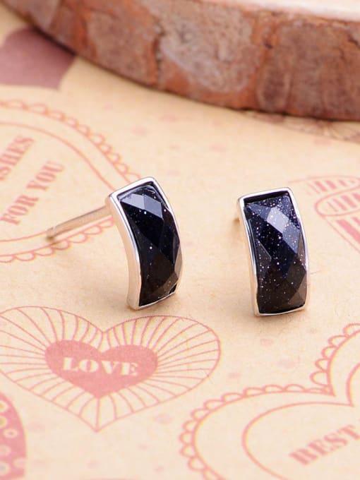 One Silver Geometric Shaped Black Zircon stud Earring