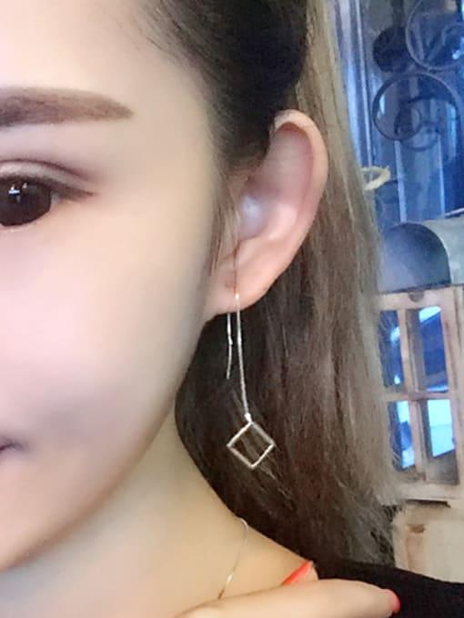 Peng Yuan Simple Hollow Square Line Earrings 1
