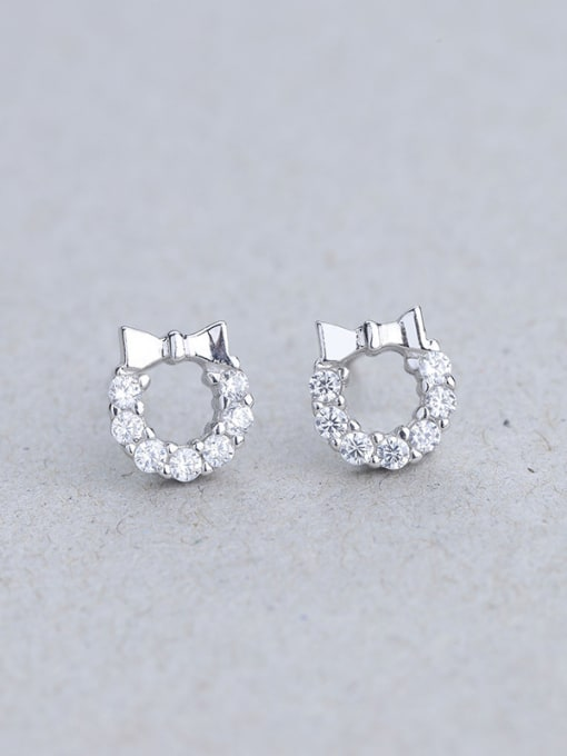 One Silver 925 Silver Bowknot Shaped stud Earring 2