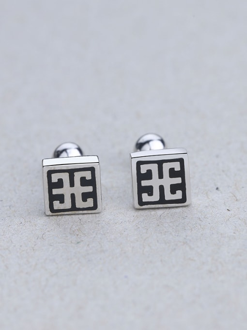 One Silver Retro Style Square Shaped stud Earring