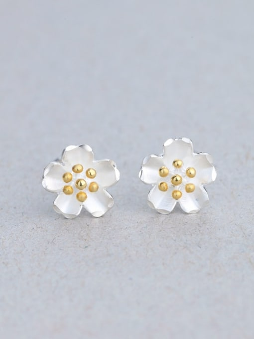 One Silver S925 silver yellow color flower fashion all-match Tremella nail hook group 0