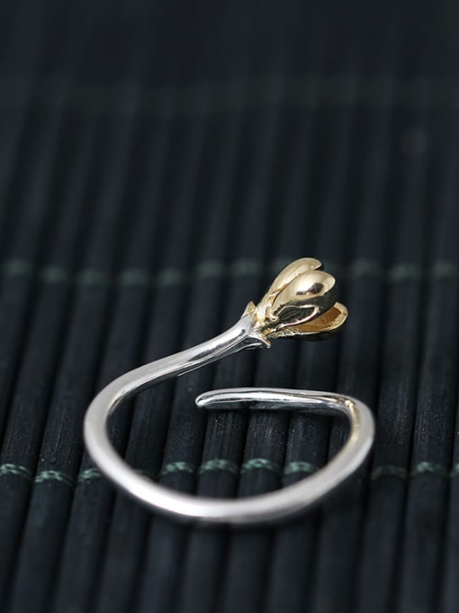SILVER MI Small Flower S925 Silver Opening Ring 2
