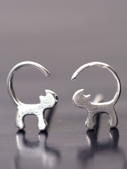 SILVER MI Curious Cats-shape Stud Earrings 0