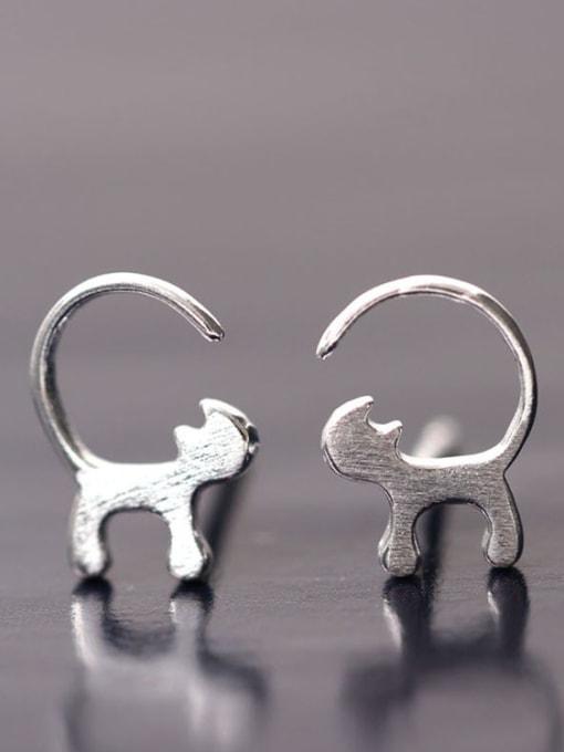 SILVER MI Curious Cats-shape Stud Earrings