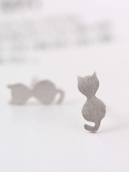 SILVER MI Lovely Cat Shaped Matt stud Earring 1