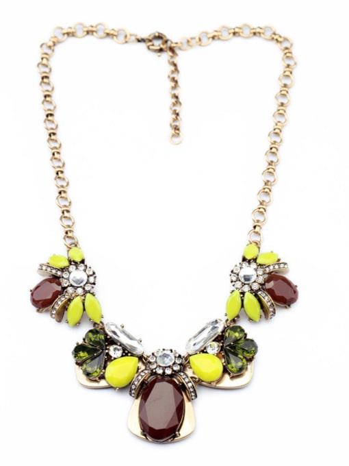 Yellow Colorful Flower Ladies' Sweater Necklace